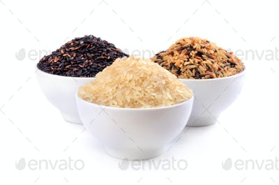 Brown, black and white rices