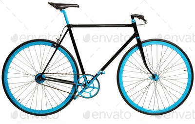 Stylish blue bicycle isolated on white