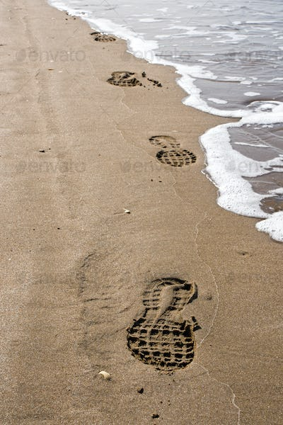 Shoeprints in the sand