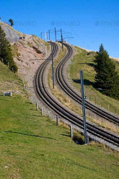 Railroad tracks in the alps