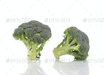 Two fresh broccoli.