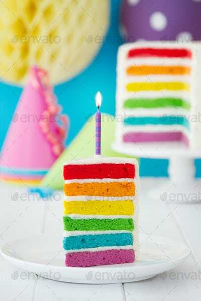 Colorful slice of rainbow birthday cake