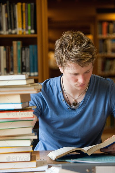 Portrait of a male student reading