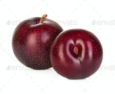 plums isolated on a white background