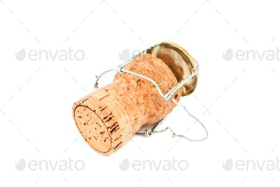 Iron wire with cork against a white background