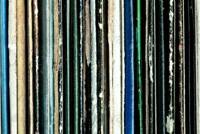 Close up of old vinyls
