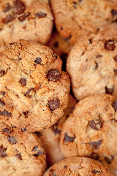 Close up of many blurred cookies laid out together