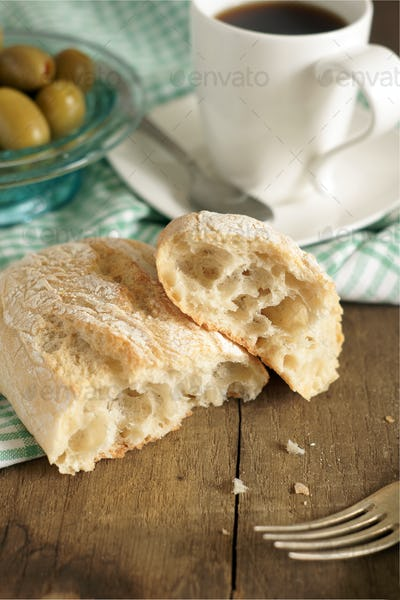 Ciabatta Bread and Olives