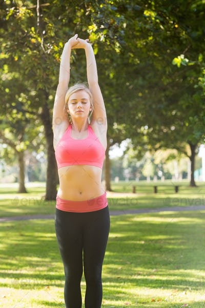 Active peaceful blonde doing yoga exercise in a park on a sunny day